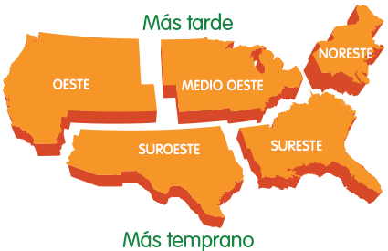 Mapa de épocas de polen de césped en Estados Unidos